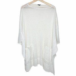 Komarov Knit Sheer Slit Poncho Thin Luxury Soft S